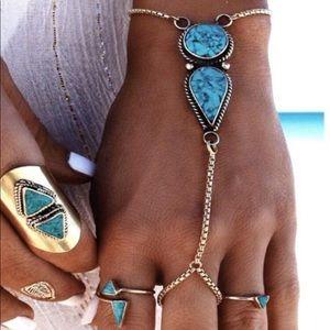 Jewelry - Boho Silver & Blue Hand Harness